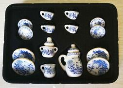 1:12 Dollhouse Porcelain CHINA Tea Set Dining Ware Blue Flow