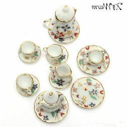 1:12 Mini Colorful Floral Ceramic Tea Set Doll house Furnitu