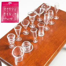 Odoria 1:12 Miniature 14PCS Clear Tea Cups and Wine Cups Set