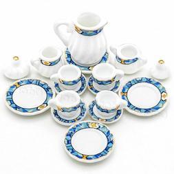 1:12 Miniature 15pcs Porcelain Tea Cup Set Chintz Flower Tab