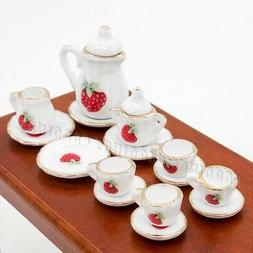 Odoria 1:12 Miniature 15PCS Porcelain Tea Cup Set Strawberry