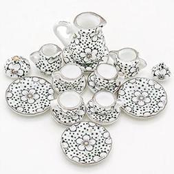 Odoria 1:12 Miniature 15Pcs Porcelain Tea Cup Set Plum Bloss