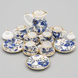 Odoria 1:12 Miniature 15PCS Blue Porcelain Chintz Tea Cup Se