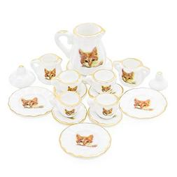 Odoria 1:12 Miniature 15PCS Porcelain Tea Cup Set Cat Patter