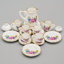 Odoria 1:12 Miniature 15PCS Porcelain Tea Cup Set Pink Rose
