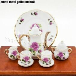 Odoria 1:6 Miniature 8PCS Porcelain Tea Cup Set Purple Chint