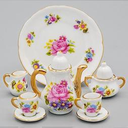 Odoria 1:6 Miniature 8PCS Porcelain Tea Cup Set Pink Flower