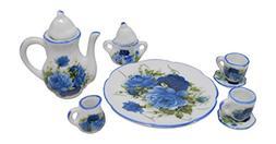 1:6 Scale 10 Piece Mini Dollhouse Size Blue Floral Tea Set w