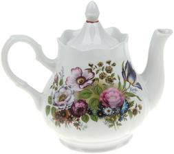 1.75 L White Porcelain Teapot w/ Floral Pattern by Dobrush,