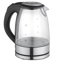 MegaChef 1.7Lt. Glass and Stainless Steel Electric Tea Kettl