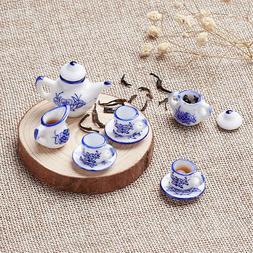 1 Set MINIATURE Vintage Porcelain Tea Set Blue Dolls House T