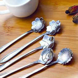 1 set Stainless Steel Flower Shape Coffee  Tea Spoon Ice Cre