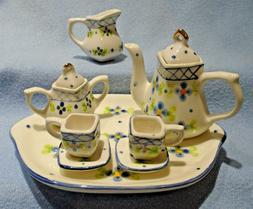 10 pc miniature ceramic blue white floral