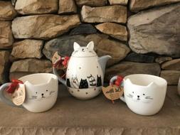 10 Strawberry Street Cat Tea Pot Mug Set NEW