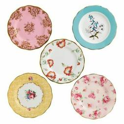 """Royal Albert 40017562 100 Years 1950-1990 Plate Set, 8"""", Mul"""