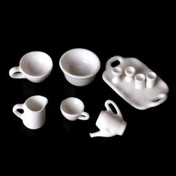 10pcs Dollhouse Miniature Dining Ware Tea Set Dish Cup Plate