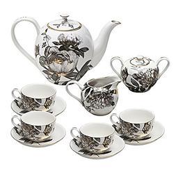 Grace Teaware 11-Piece Porcelain Tea Set Black Peony