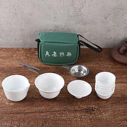 11x Travel Tea Sets Chinese Portable Ceramic Bone China Gaiw