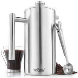 VonShef 12 Cup French Press Double Walled Stainless Steel Ca