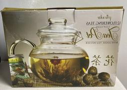Primula 12 Flowering Teas Gift Set w/Tea Infuser, Lid NIB
