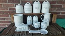 Rae Dunn 12 item set canisters, pitcher, sweet cream, sugar,