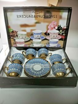 12 Pcs cups & Saucers 2.2 oz  espresso coffee and tea  set