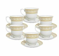 12 Pcs Gold Greek Key Design  Tea Cup/Saucer Set For 6 Perso