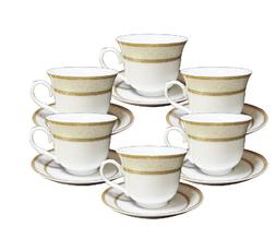 12 Pcs  Gold Wreath Design  Tea Cup/Saucer Set For 6 Persons