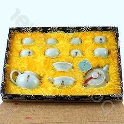 12 Pcs Portable Chinese Porcelain Tea Set Ceramic Tea Pot Cu