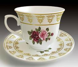 12 Pcs Roses & Gold Design  Tea Cup/Saucer Set For 6 Persons