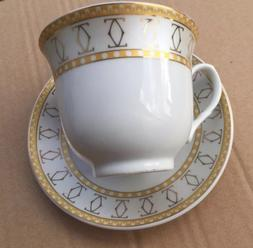 12 Pcs  Silver/Gold Link Cartier Design  Tea Cup/Saucer Set