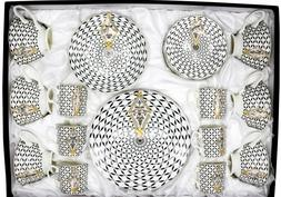 12 piece China Dinnerware Plates Set Black and Gold Royal Fl