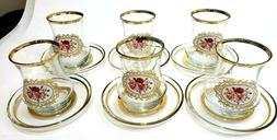 12 Pieces 6 set Tea Glasses With Saucers Set Of 6 - LAV EVA