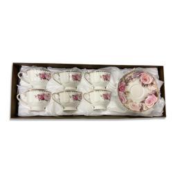 12PC Tea Set New Bone China w/ Pink Rose Design