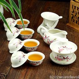 12pcs/lot porcelain tea set kungfu teaware porcelain gaiwan