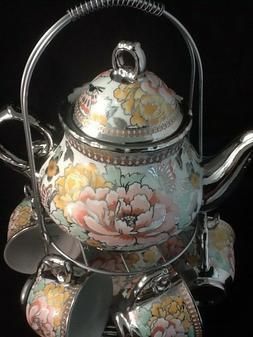 13 Pc Tea Set  Tea Pot 6 Cups 6 Saucer rack Silver Multi  #1