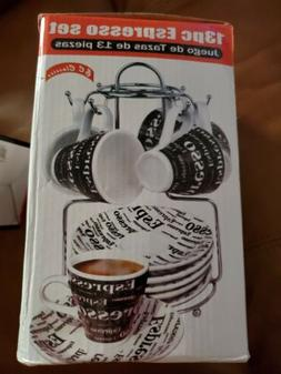 13 Piece Espresso Cup And Saucer Set Storage Rack Tea Cup Co
