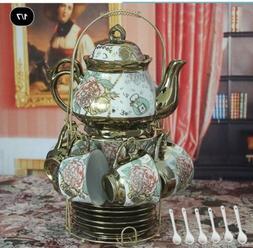 13 Piece European Titanium Rose Printing Vintage Ceramic Tea