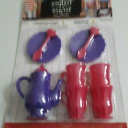 13 Piece Pink and Purple Mini Tea Set Pot Cups Plates Preten
