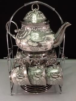13 piece Tea Sets - Tea Pot + 6 Cups & Saucers + Rack. Silve