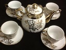 13 pc Chinese Tea Set Tea Pot 6 Cups Saucers Rack Multi ----