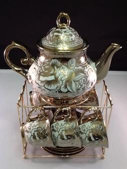 13 piece Tea Set Tea Pot 6 Cups  Saucers Rack Coffee Cup Set