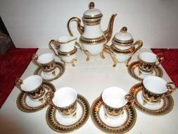 15 Pc Chekoslovakian Tea Set 24K Gold & Black, Service for 6