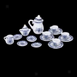 15 pcs Blue Dollhouse Miniature Dining Ware Porcelain Tea Se