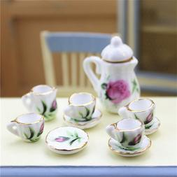 15 Pcs Porcelain Tea Set Tea Pot Tableware 1:12 Dollhouse Mi