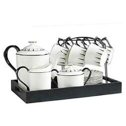 15 Piece European Ceramic Tea Sets,Bone China Coffee Set wit