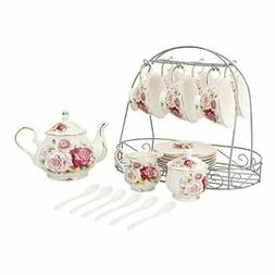 ufengke 15 Piece European Ceramic Tea Sets,Bone China Coffee
