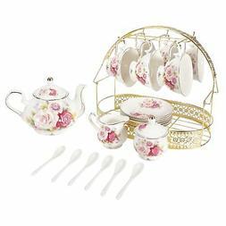 ufengke 15 Piece European Ceramic Tea Sets,Bone China Coffee