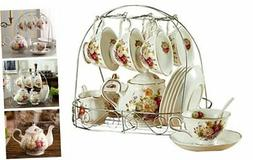 15 Piece European Ceramic Tea Sets,China Coffee Set with Met