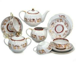 15 Piece Porcelain Tea Set for 6 persons. Fine China Tea Ser